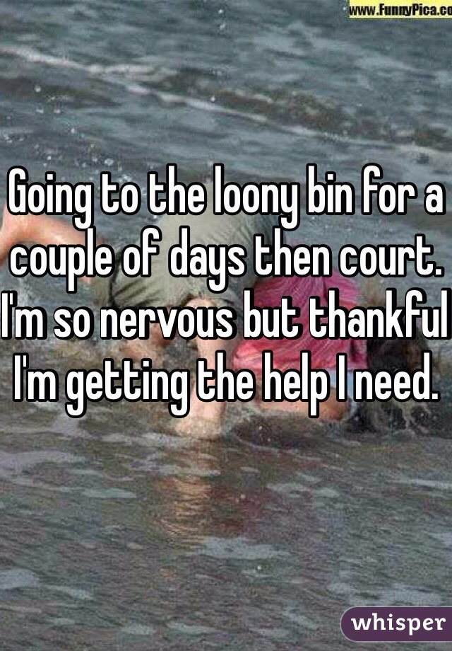 Going to the loony bin for a couple of days then court. I'm so nervous but thankful I'm getting the help I need.