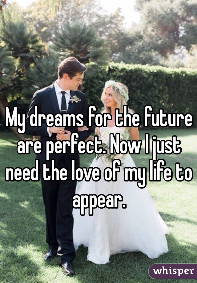 My dreams for the future are perfect. Now I just need the love of my life to appear.