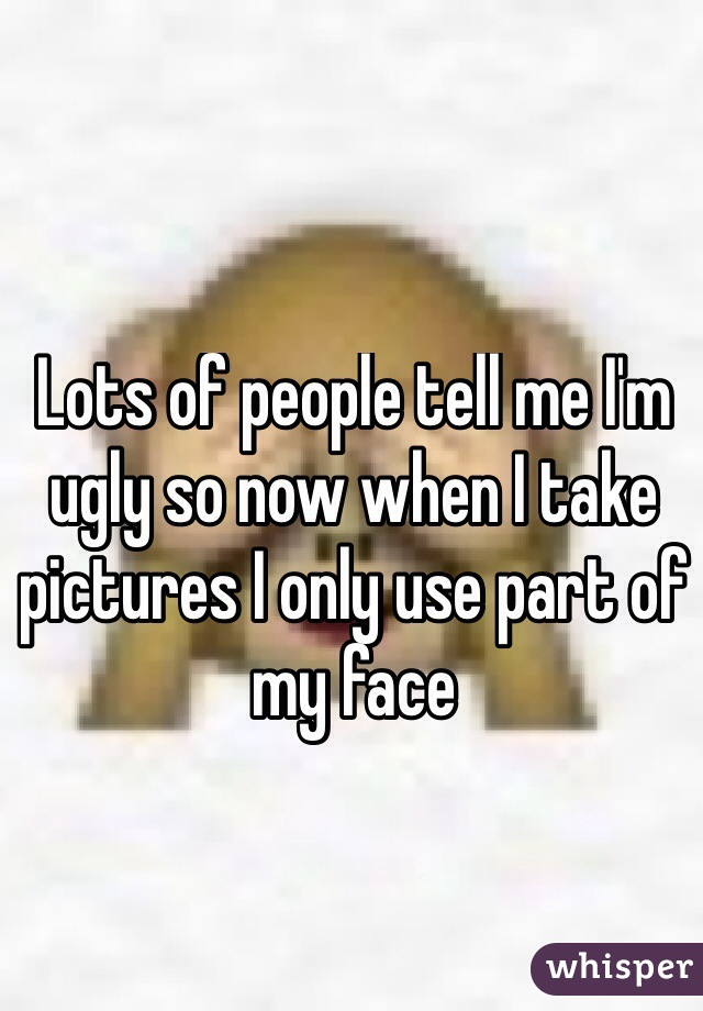 Lots of people tell me I'm ugly so now when I take pictures I only use part of my face