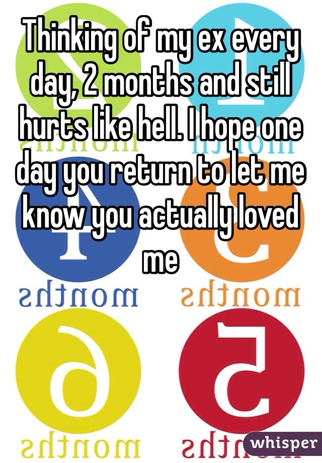 Thinking of my ex every day, 2 months and still hurts like hell. I hope one day you return to let me know you actually loved me