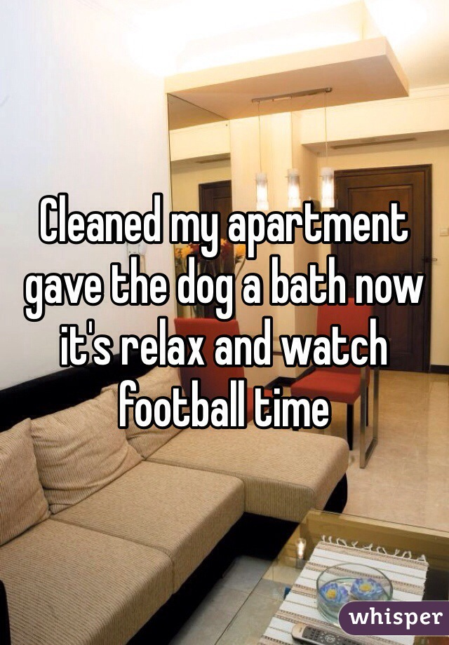 Cleaned my apartment gave the dog a bath now it's relax and watch football time