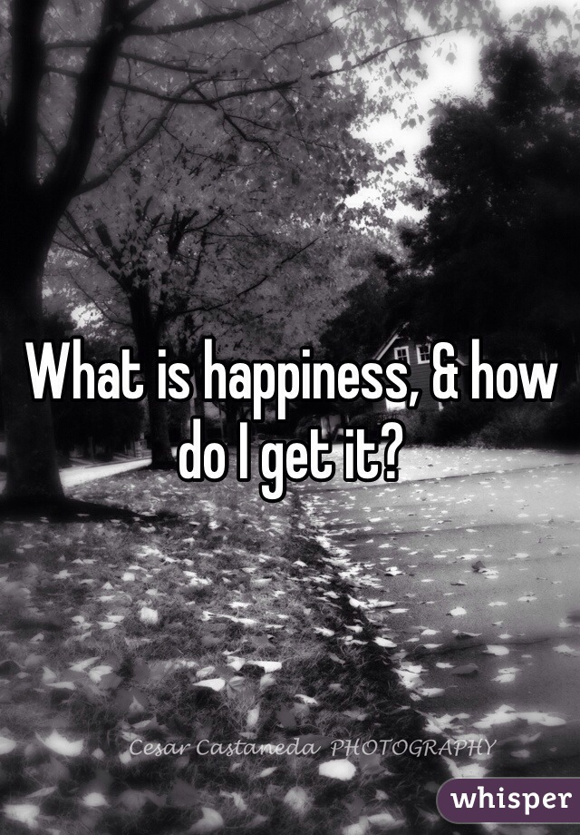 What is happiness, & how do I get it?