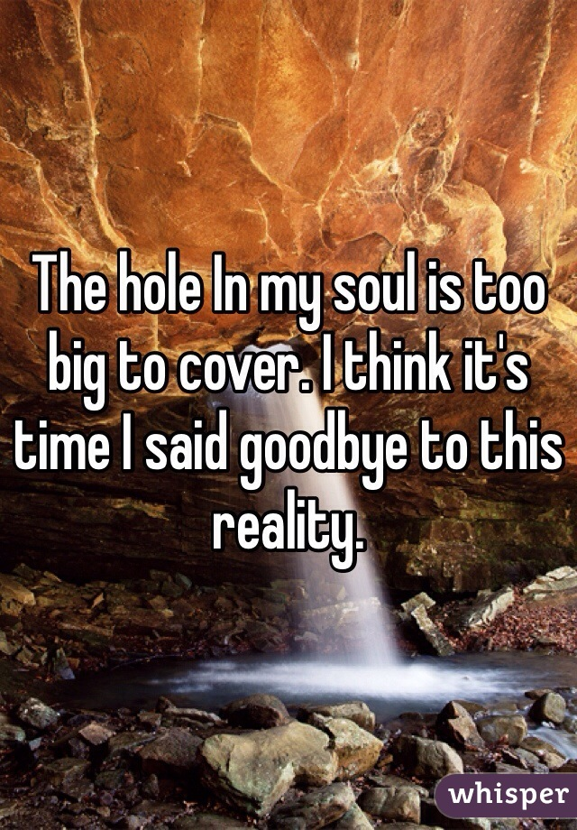 The hole In my soul is too big to cover. I think it's time I said goodbye to this reality.