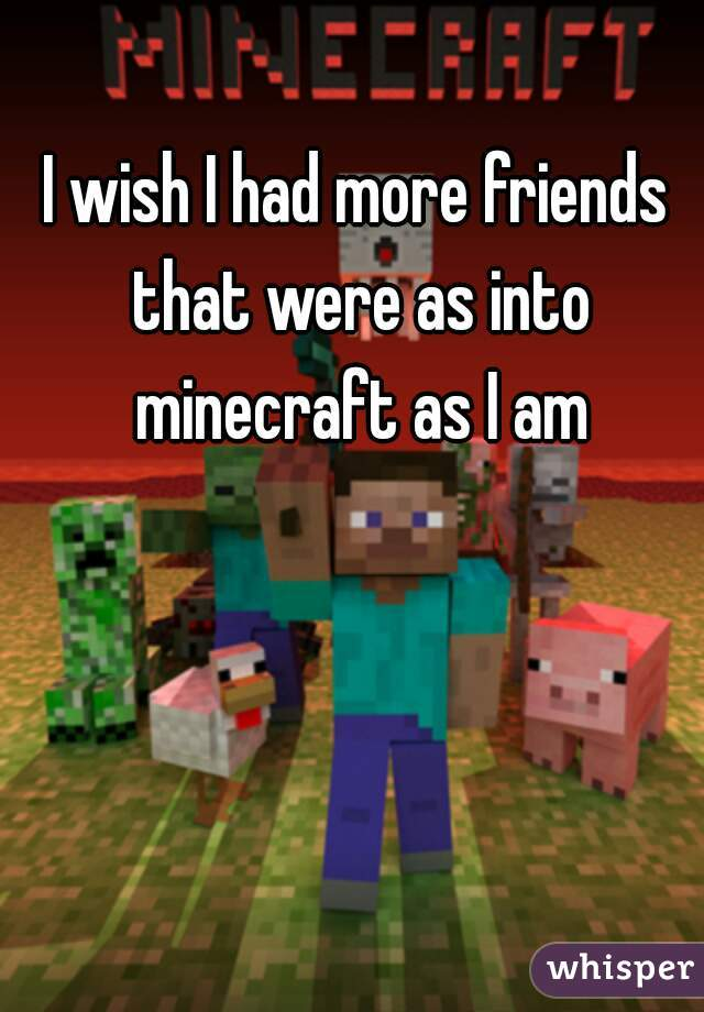 I wish I had more friends that were as into minecraft as I am