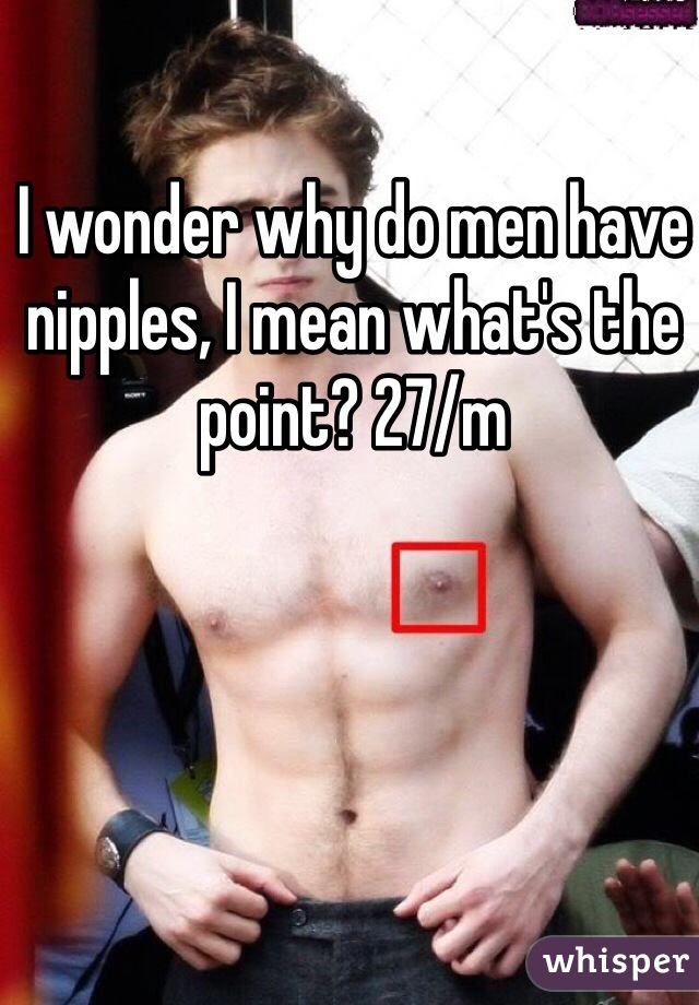 I wonder why do men have nipples, I mean what's the point? 27/m
