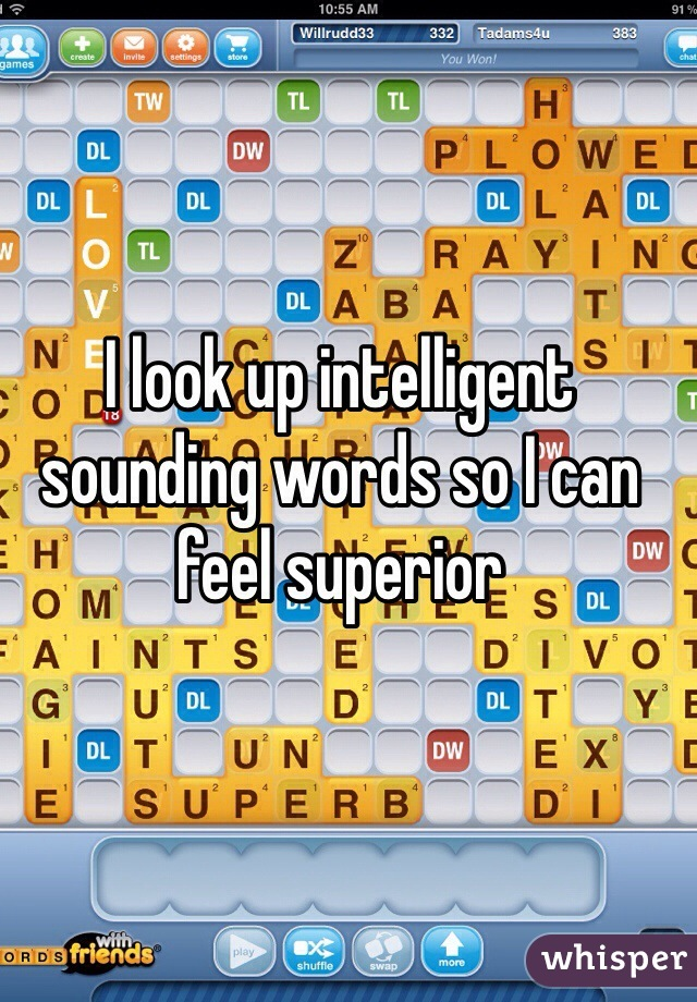 I look up intelligent sounding words so I can feel superior