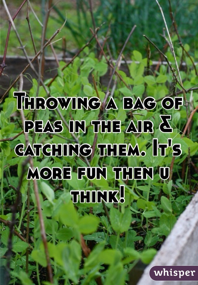 Throwing a bag of peas in the air & catching them. It's more fun then u think!