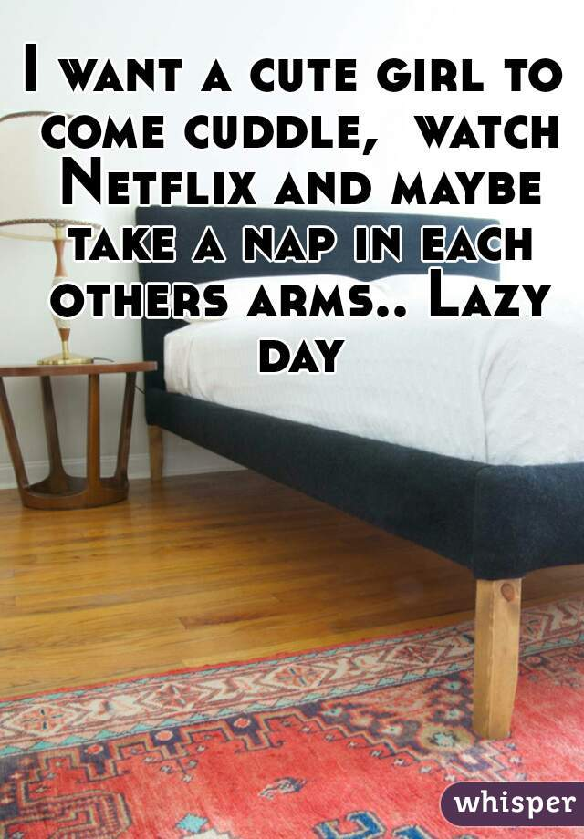 I want a cute girl to come cuddle,  watch Netflix and maybe take a nap in each others arms.. Lazy day