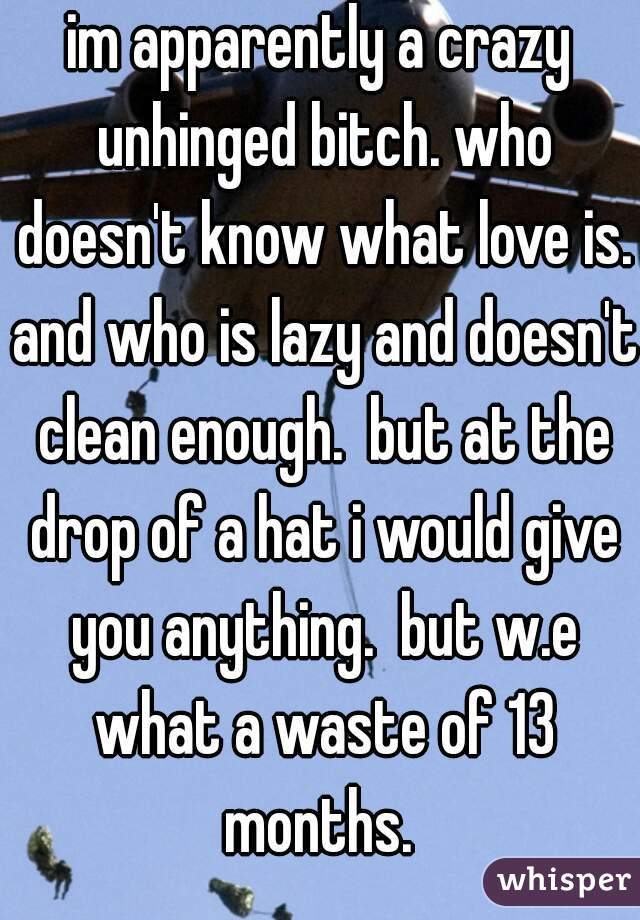 im apparently a crazy unhinged bitch. who doesn't know what love is. and who is lazy and doesn't clean enough.  but at the drop of a hat i would give you anything.  but w.e what a waste of 13 months.