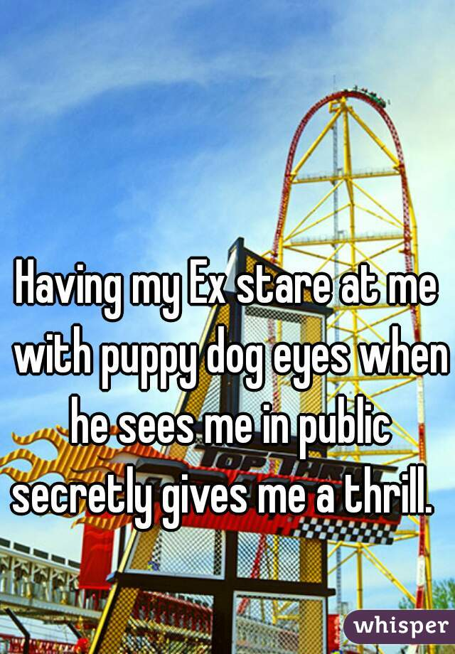 Having my Ex stare at me with puppy dog eyes when he sees me in public secretly gives me a thrill.