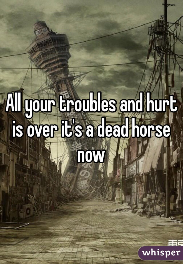 All your troubles and hurt is over it's a dead horse now