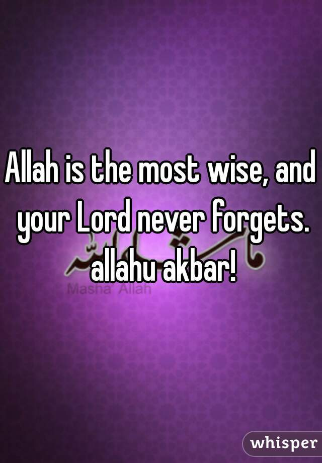 Allah is the most wise, and your Lord never forgets. allahu akbar!