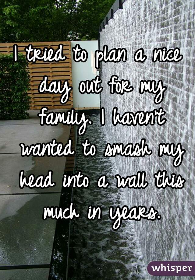 I tried to plan a nice day out for my family. I haven't wanted to smash my head into a wall this much in years.