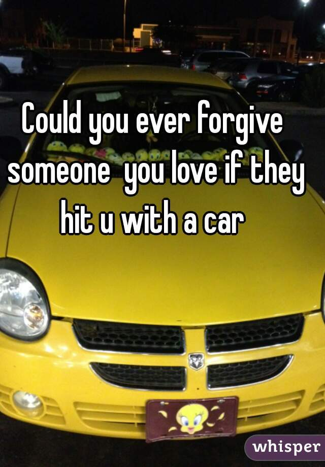 Could you ever forgive someone  you love if they hit u with a car