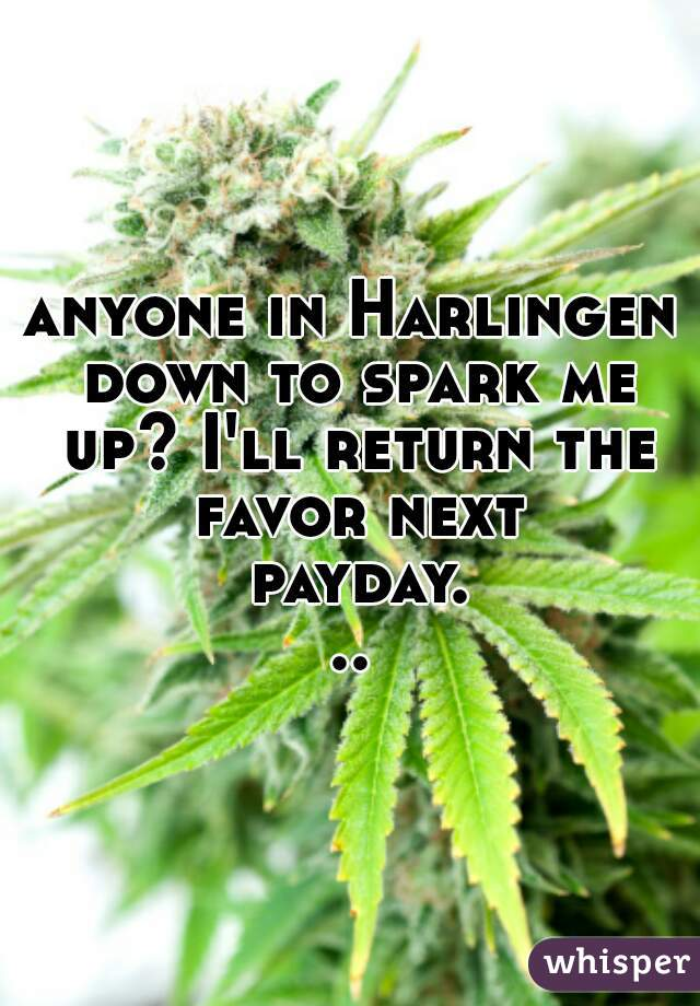 anyone in Harlingen down to spark me up? I'll return the favor next payday...