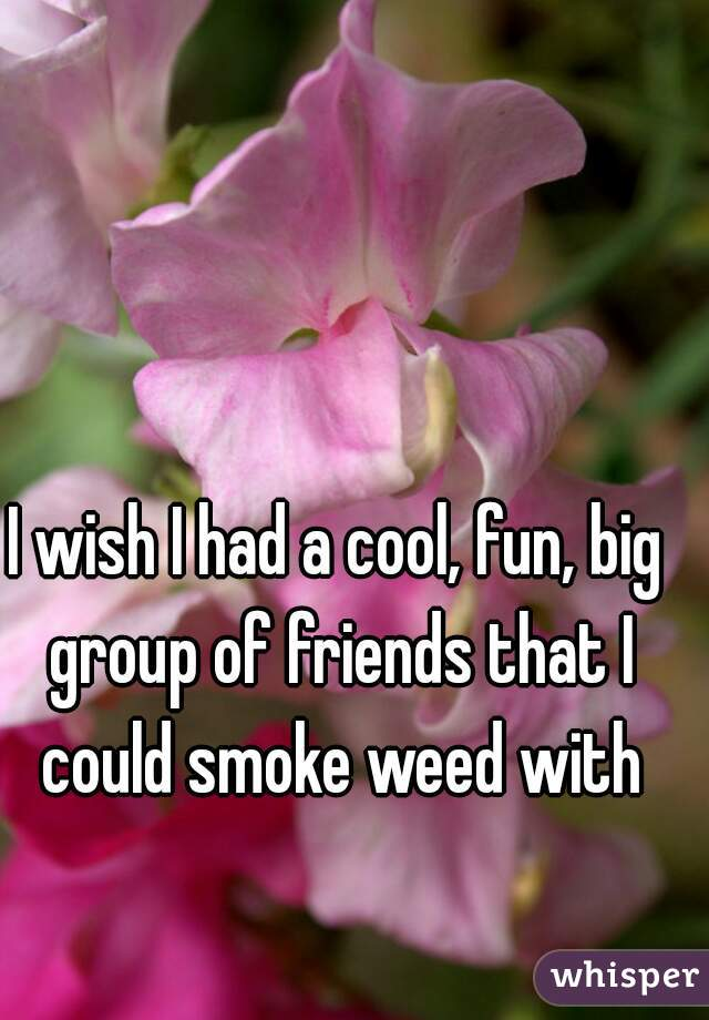 I wish I had a cool, fun, big group of friends that I could smoke weed with