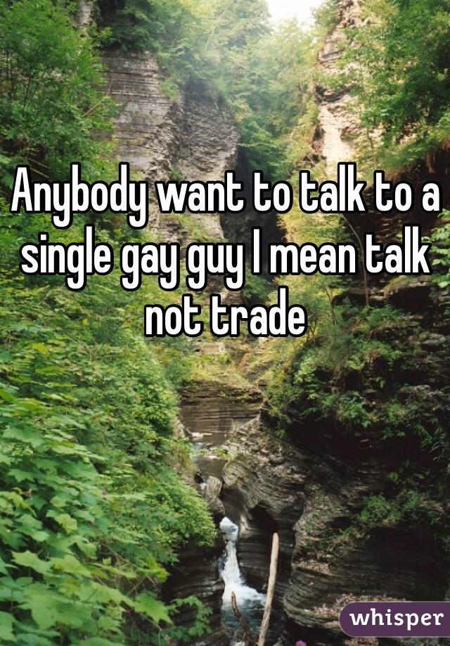 Anybody want to talk to a single gay guy I mean talk not trade