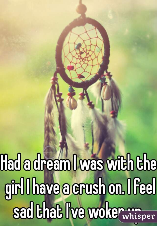 Had a dream I was with the girl I have a crush on. I feel sad that I've woken up.