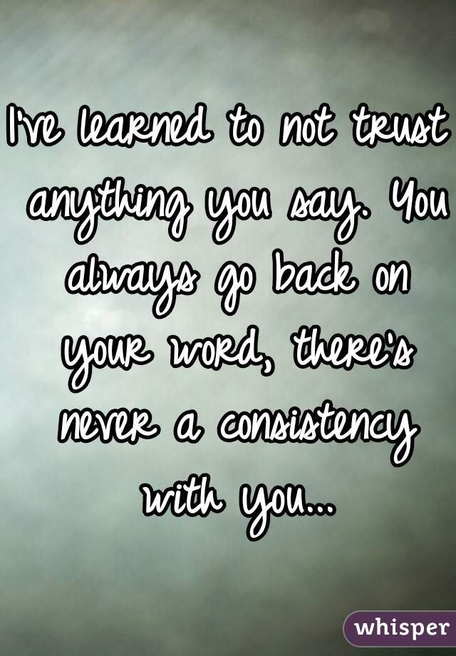 I've learned to not trust anything you say. You always go back on your word, there's never a consistency with you...