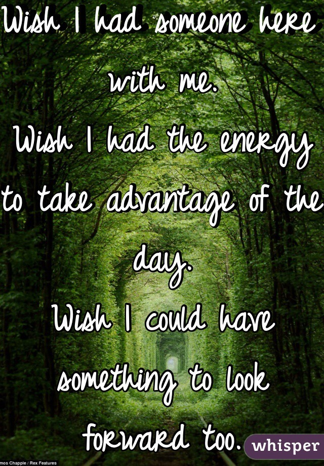 Wish I had someone here with me.  Wish I had the energy to take advantage of the day.  Wish I could have something to look forward too.