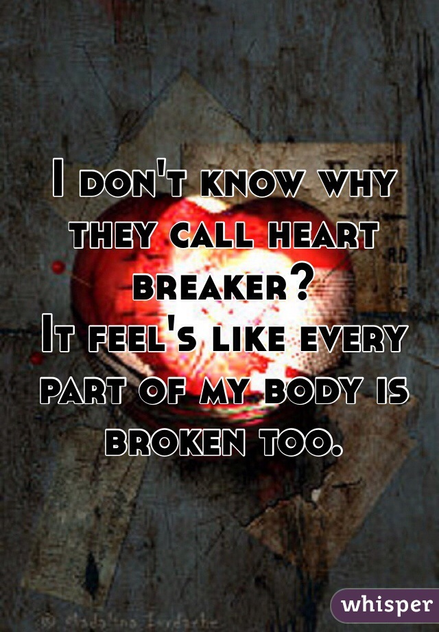 I don't know why they call heart breaker? It feel's like every part of my body is broken too.