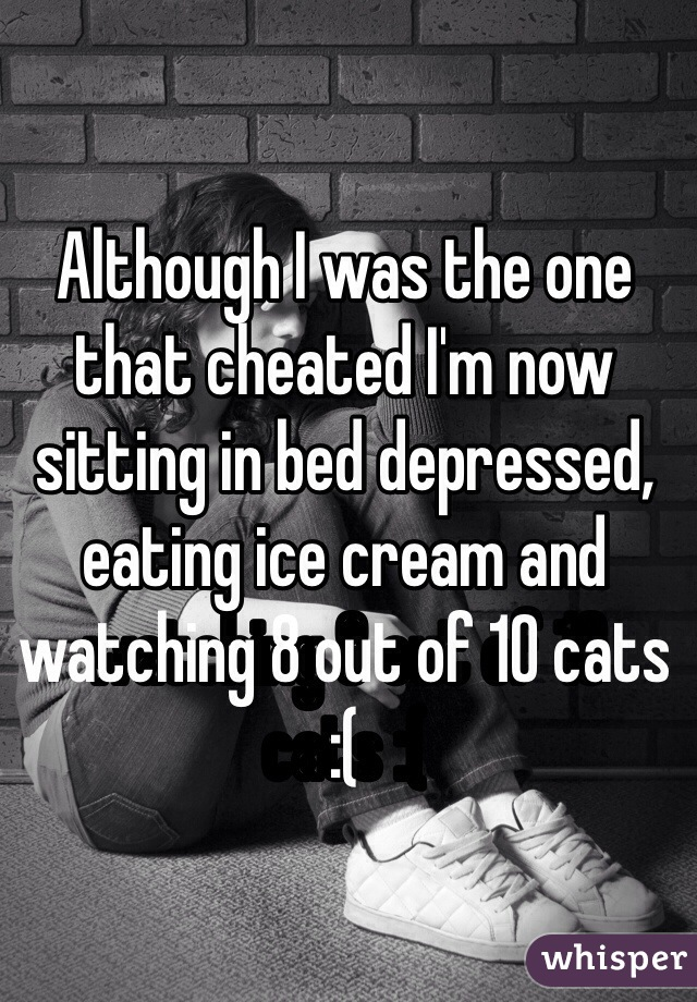 Although I was the one that cheated I'm now sitting in bed depressed, eating ice cream and watching 8 out of 10 cats :(