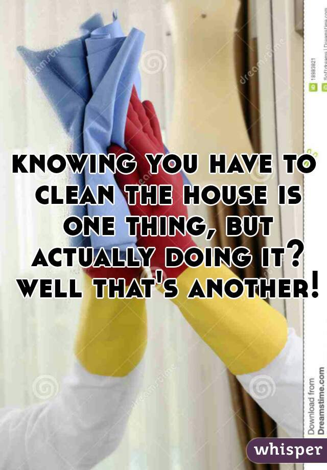 knowing you have to clean the house is one thing, but actually doing it? well that's another!