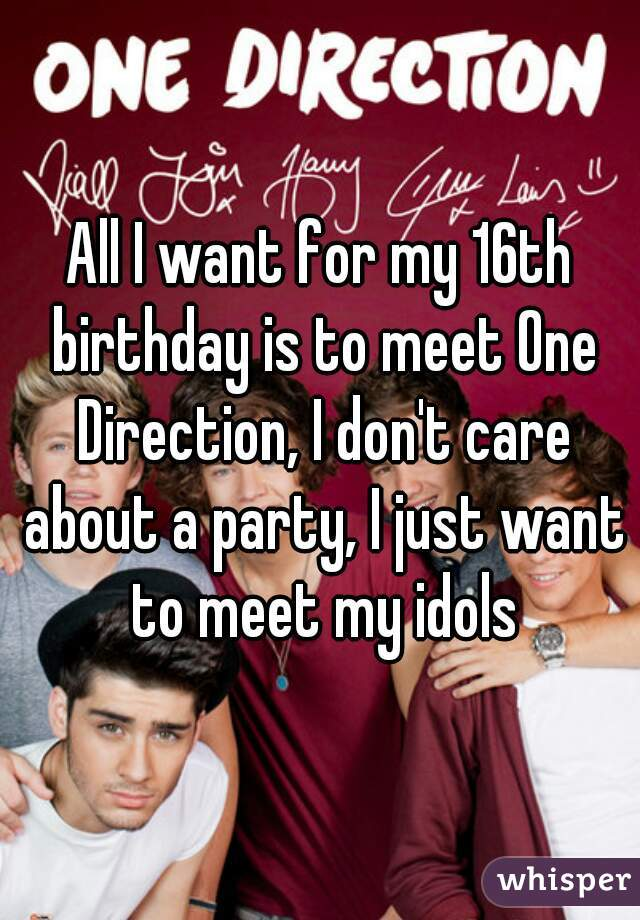 All I want for my 16th birthday is to meet One Direction, I don't care about a party, I just want to meet my idols