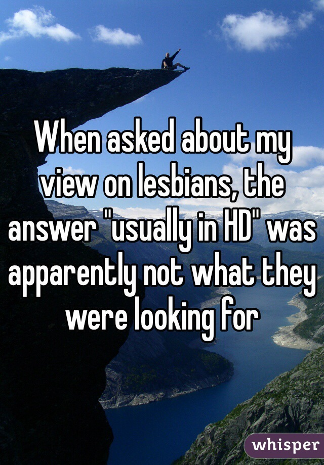 """When asked about my view on lesbians, the answer """"usually in HD"""" was apparently not what they were looking for"""