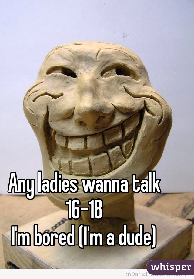 Any ladies wanna talk 16-18  I'm bored (I'm a dude)
