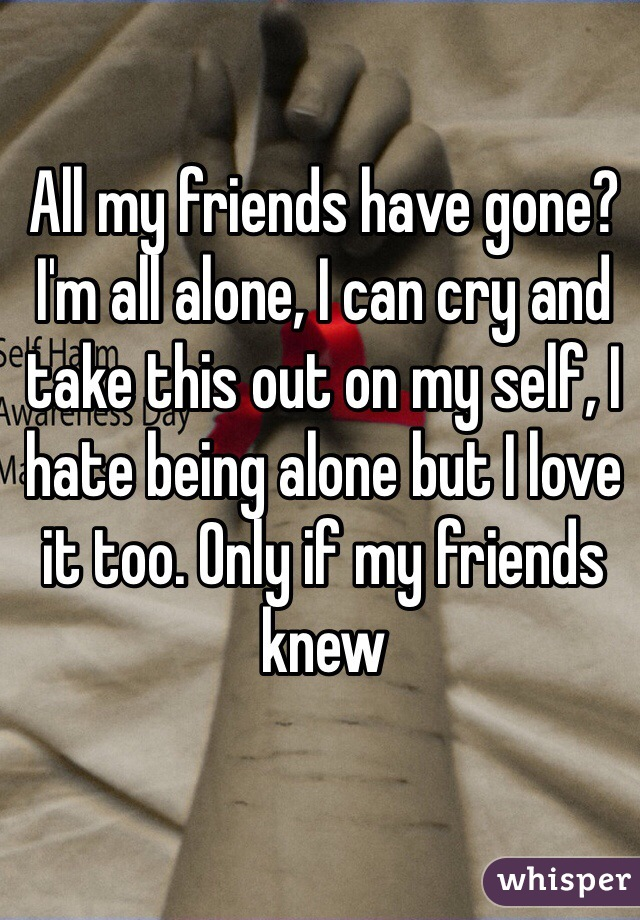 All my friends have gone? I'm all alone, I can cry and take this out on my self, I hate being alone but I love it too. Only if my friends knew