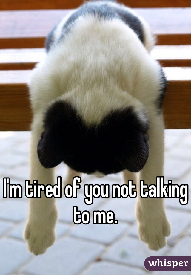 I'm tired of you not talking to me.