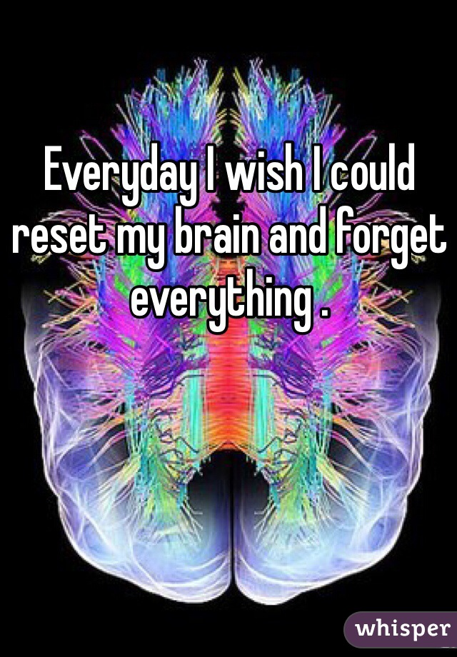 Everyday I wish I could reset my brain and forget everything .