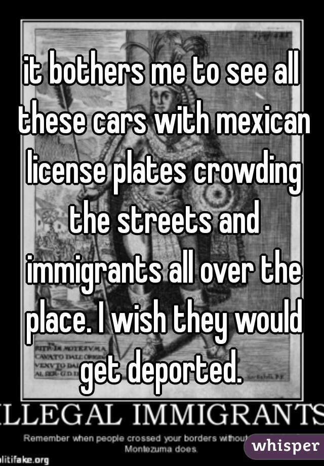it bothers me to see all these cars with mexican license plates crowding the streets and immigrants all over the place. I wish they would get deported.