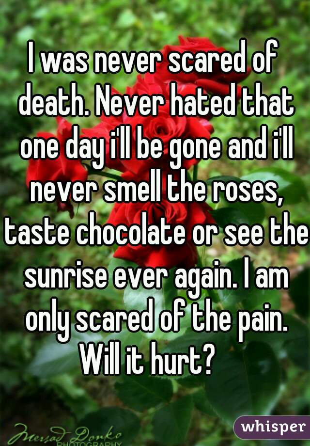 I was never scared of death. Never hated that one day i'll be gone and i'll never smell the roses, taste chocolate or see the sunrise ever again. I am only scared of the pain. Will it hurt?