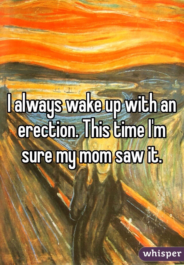 I always wake up with an erection. This time I'm sure my mom saw it.