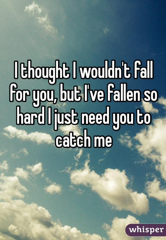 I thought I wouldn't fall for you, but I've fallen so hard I just need you to catch me