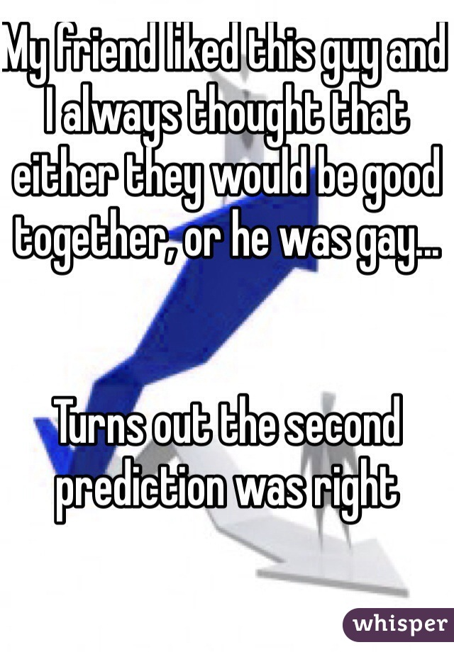 My friend liked this guy and I always thought that either they would be good together, or he was gay...   Turns out the second prediction was right