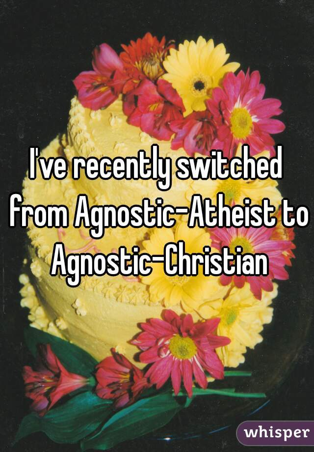 I've recently switched from Agnostic-Atheist to Agnostic-Christian