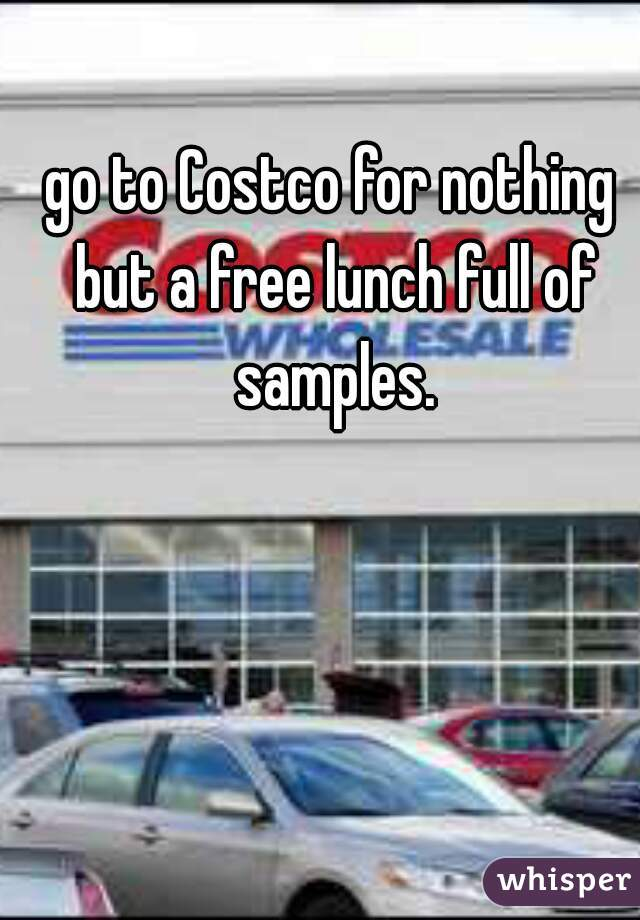 go to Costco for nothing but a free lunch full of samples.