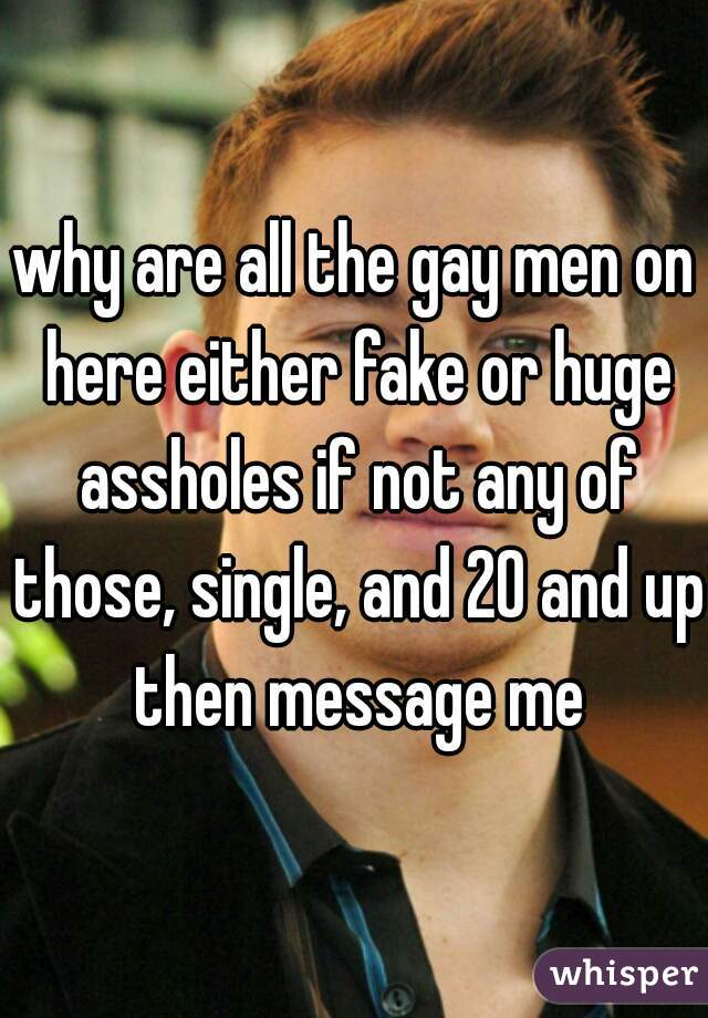 why are all the gay men on here either fake or huge assholes if not any of those, single, and 20 and up then message me