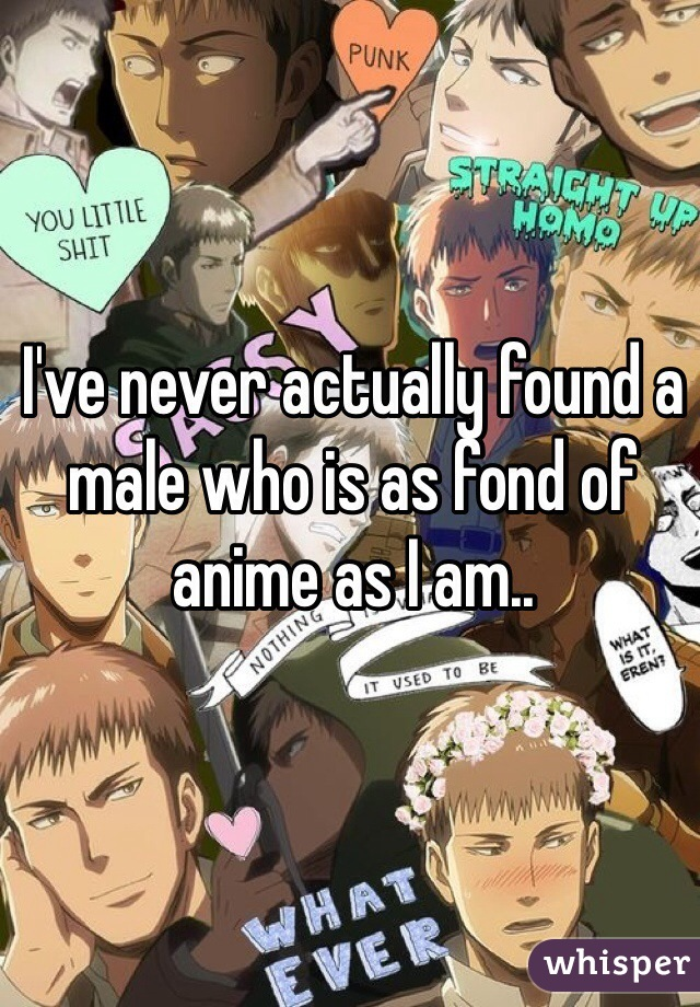 I've never actually found a male who is as fond of anime as I am..