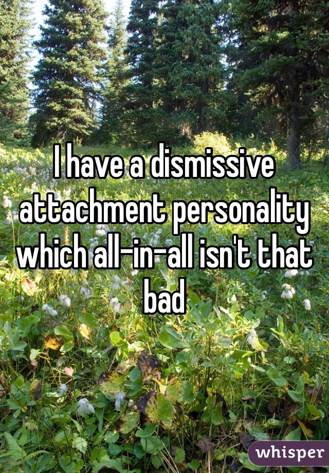 I have a dismissive attachment personality which all-in-all isn't that bad