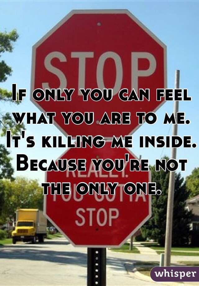 If only you can feel what you are to me. It's killing me inside. Because you're not the only one.
