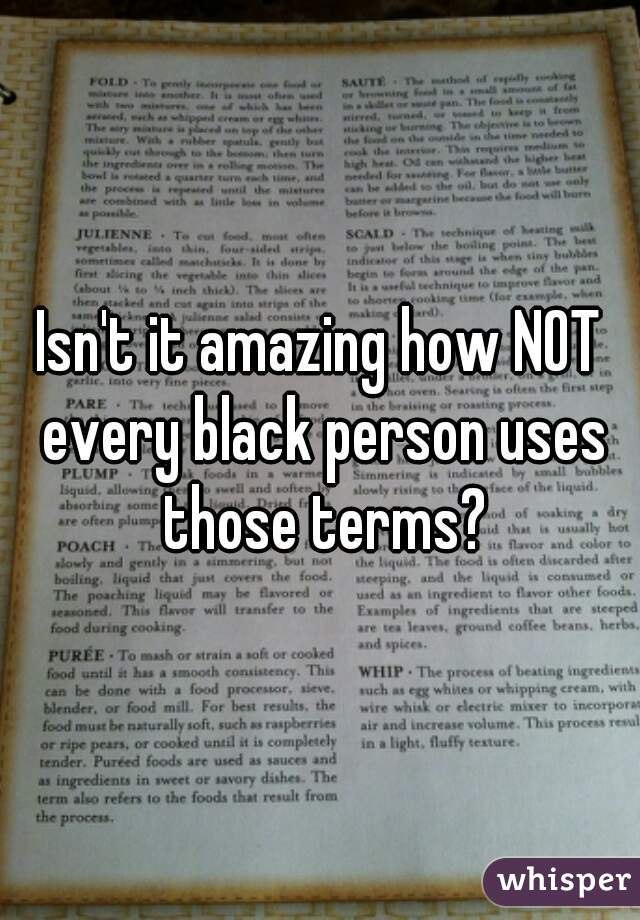 Isn't it amazing how NOT every black person uses those terms?