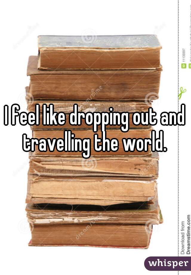 I feel like dropping out and travelling the world.
