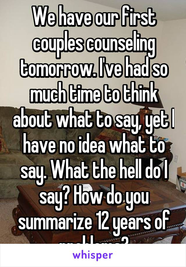 We have our first couples counseling tomorrow. I've had so much time to think about what to say, yet I have no idea what to say. What the hell do I say? How do you summarize 12 years of problems?
