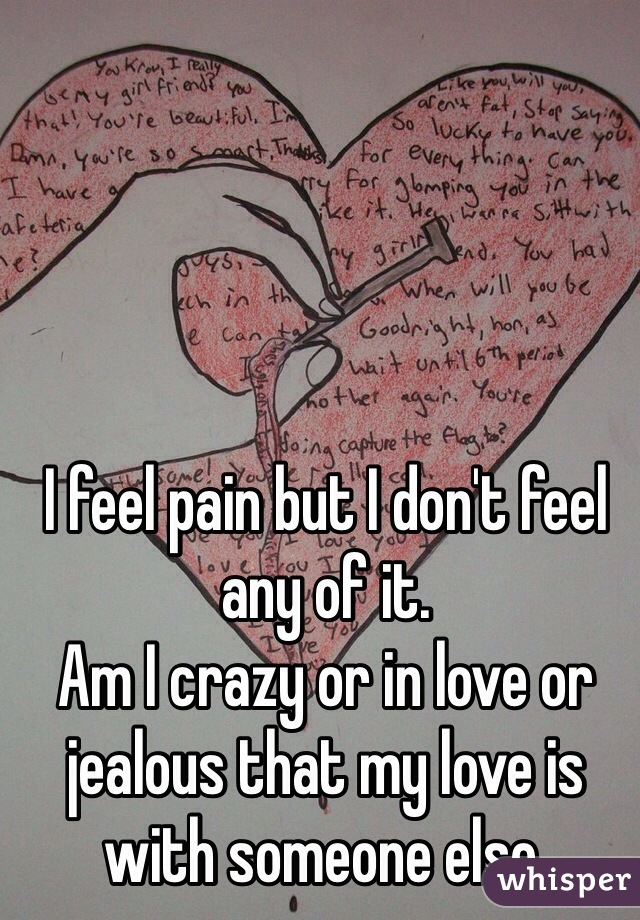 I feel pain but I don't feel any of it. Am I crazy or in love or jealous that my love is with someone else.