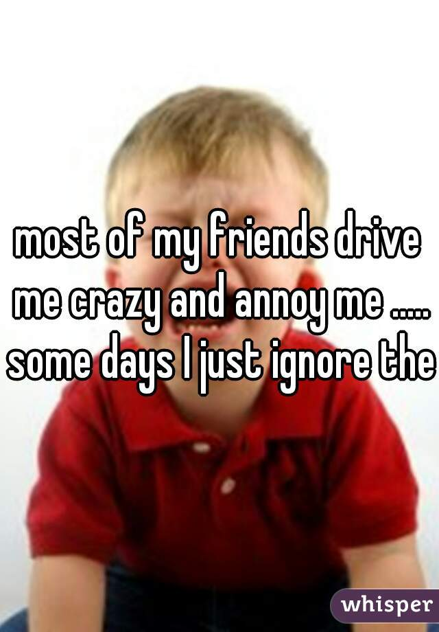 most of my friends drive me crazy and annoy me ..... some days I just ignore them