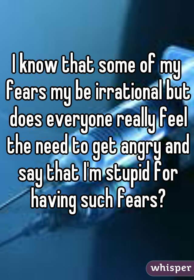 I know that some of my fears my be irrational but does everyone really feel the need to get angry and say that I'm stupid for having such fears?